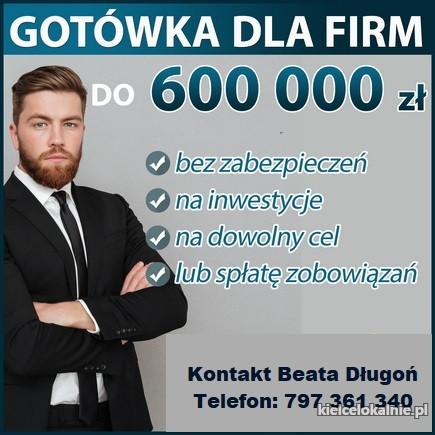 Kredyt Gotówkowy dla FIRM do 600 000 w 1 Dzień
